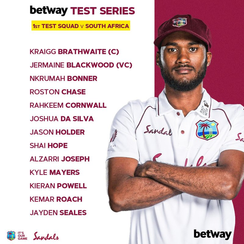 West Indies Test Squad For South Africa Series Selected!